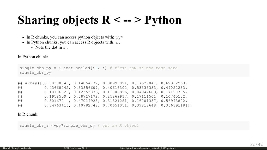 Sharing objects R < -- > Python In R chunks, yo...