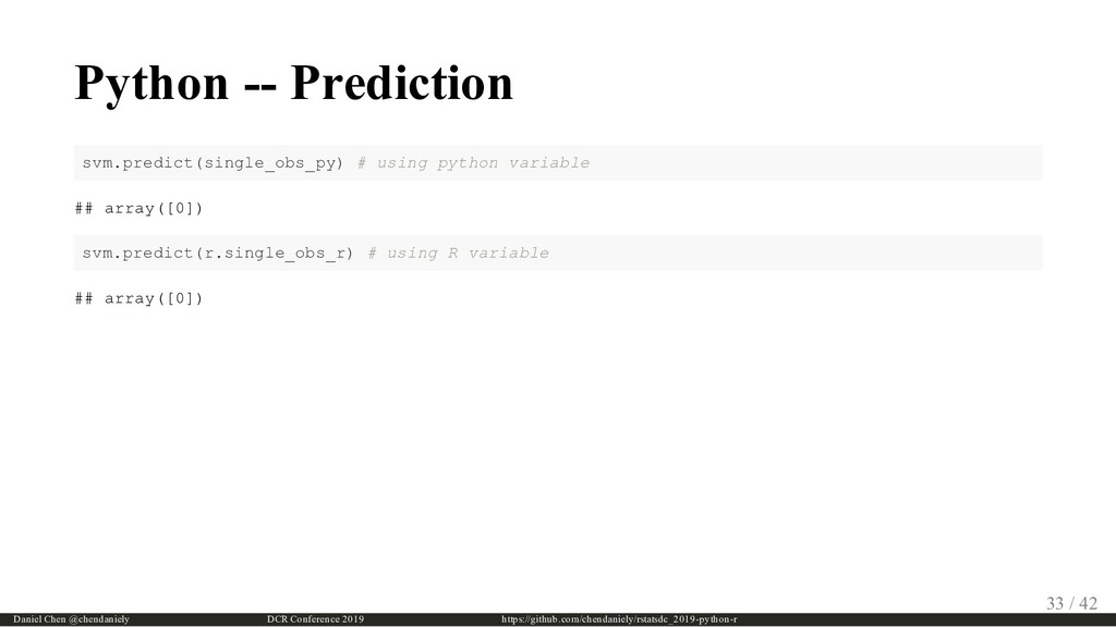 Python -- Prediction svm.predict(single_obs_py)...