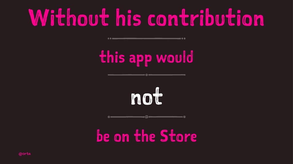 Without his contribution this app would not be ...