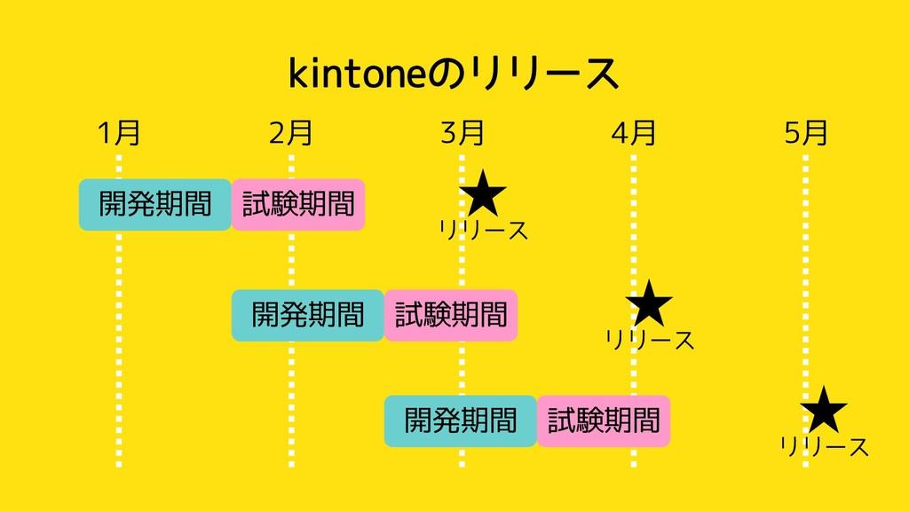 kintoneのリリース 1月 2月 3月 4月 5月 開発期間 試験期間 開発期間 試験期間...