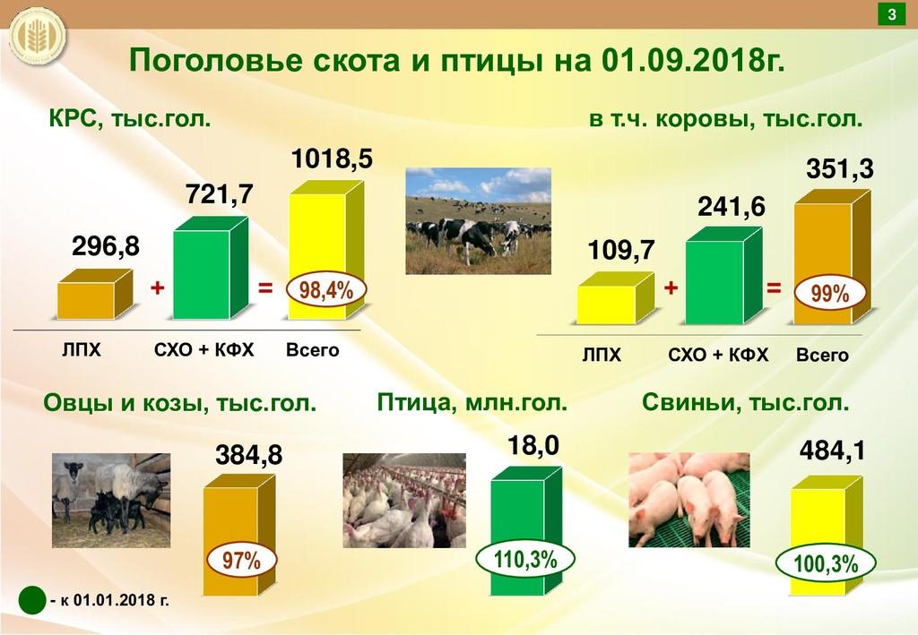 Поголовье скота и птицы на 01.09.2018г. в т.ч. ...