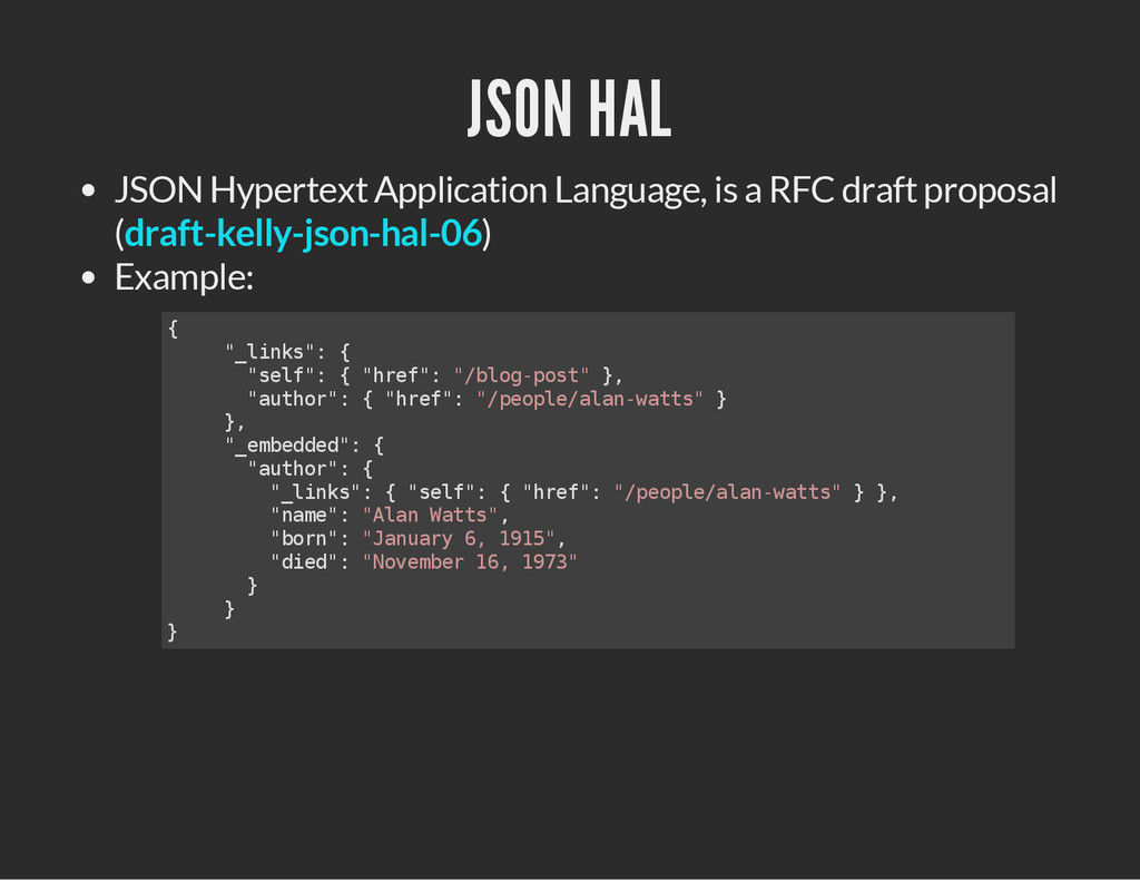 JSON HAL JSON Hypertext Application Language, i...