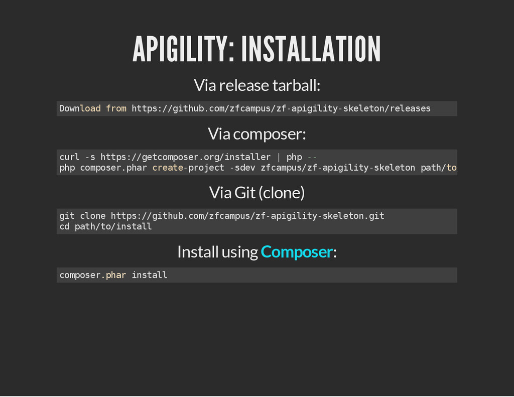 APIGILITY: INSTALLATION Via release tarball: D ...