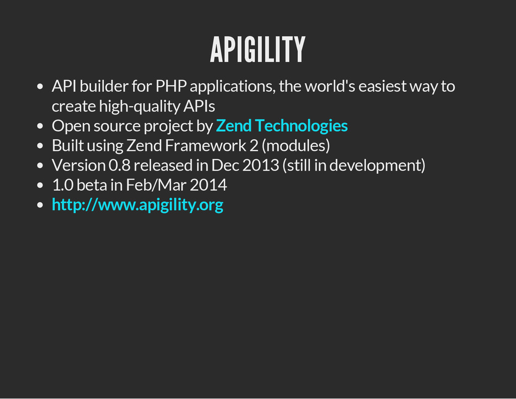 APIGILITY API builder for PHP applications, the...