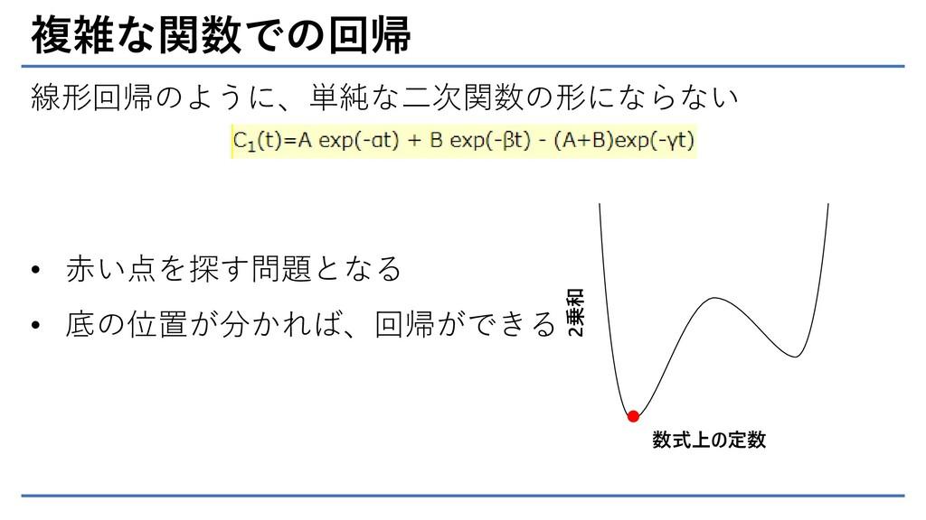 複雑な関数での回帰 線形回帰のように、単純な二次関数の形にならない 2乗和 数式上の定数 • ...