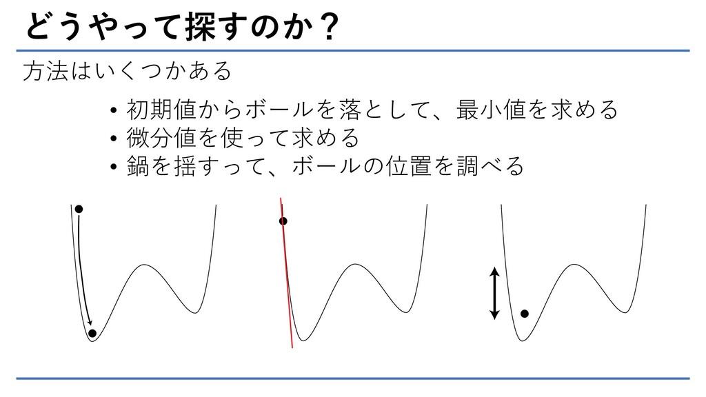 どうやって探すのか? 方法はいくつかある • 初期値からボールを落として、最小値を求める • ...