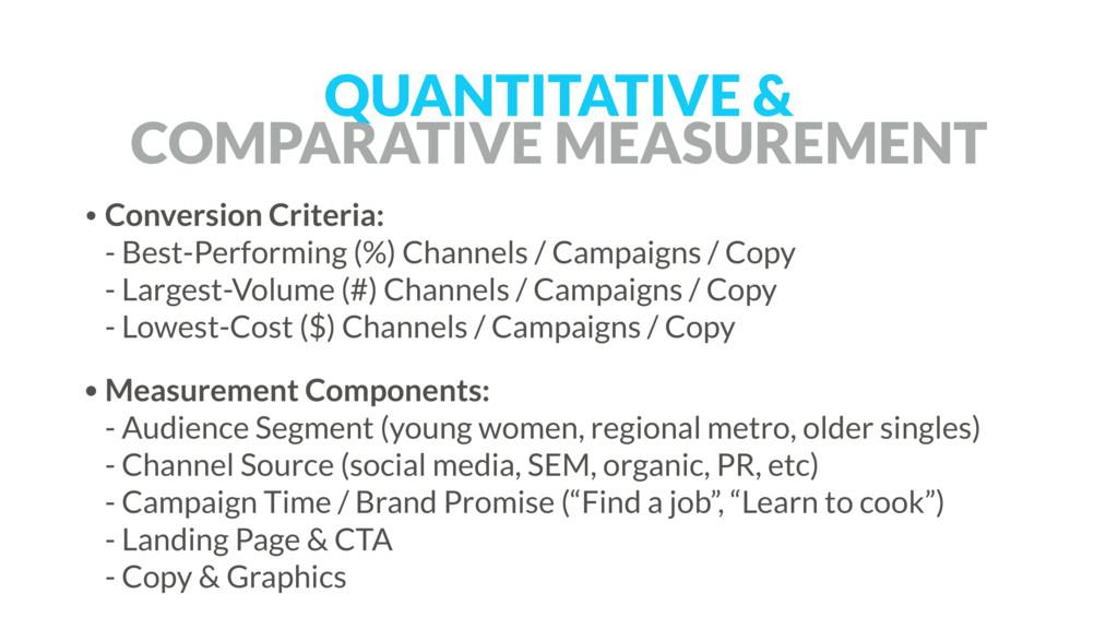 QUANTITATIVE &  COMPARATIVE MEASUREMENT • Conv...
