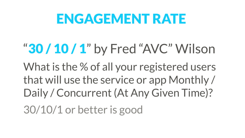 """ENGAGEMENT RATE """"30 / 10 / 1"""" by Fred """"AVC"""" Wil..."""
