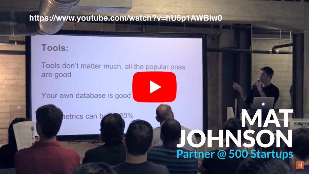 MAT JOHNSON Partner @ 500 Startups https://www....