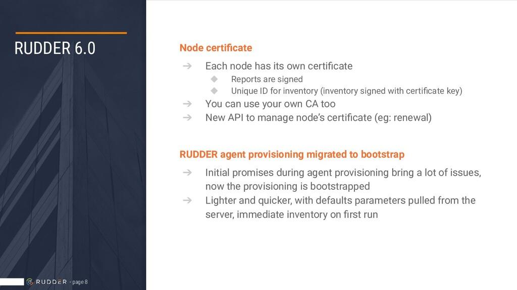 RUDDER 6.0 Node certificate ➔ Each node has its ...