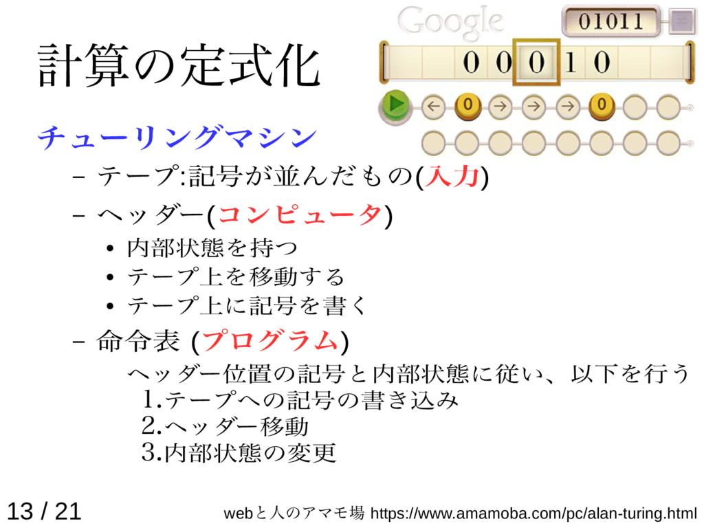 計算の定式化 チューリングマシン – テープ:記号が並んだもの(入力) – ヘッダー(コンピュ...
