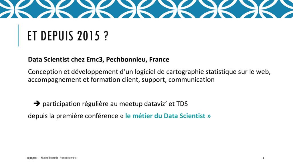 ET DEPUIS 2015 ? Data Scientist chez Emc3, Pech...