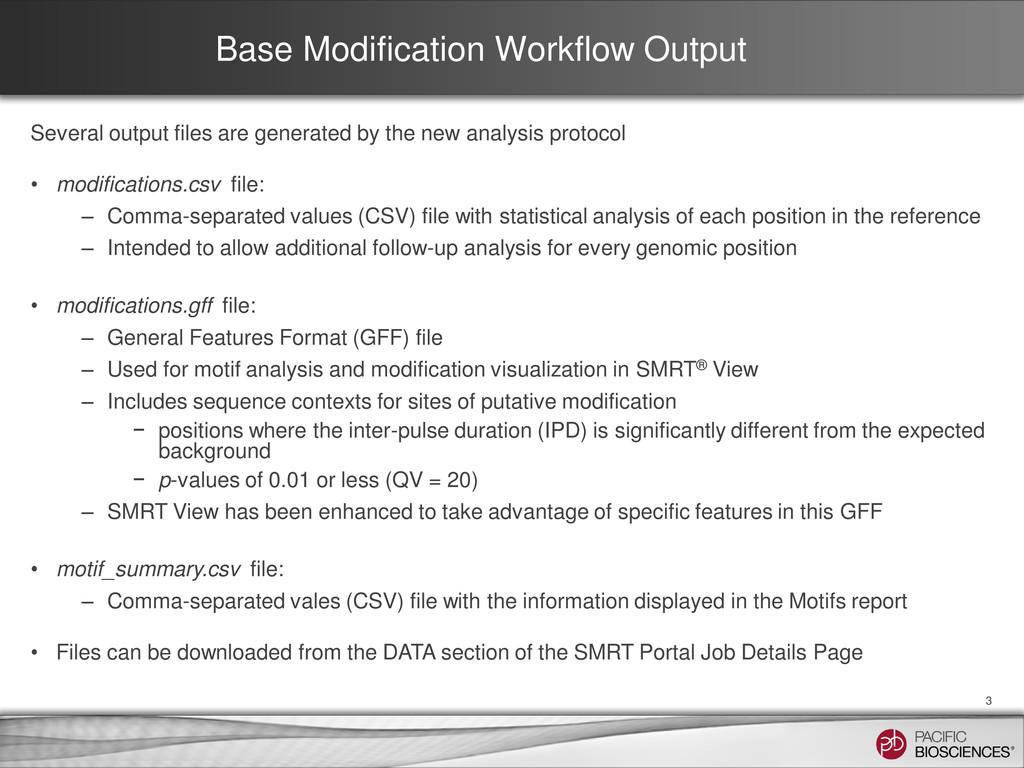 Base Modification Workflow Output Several outpu...