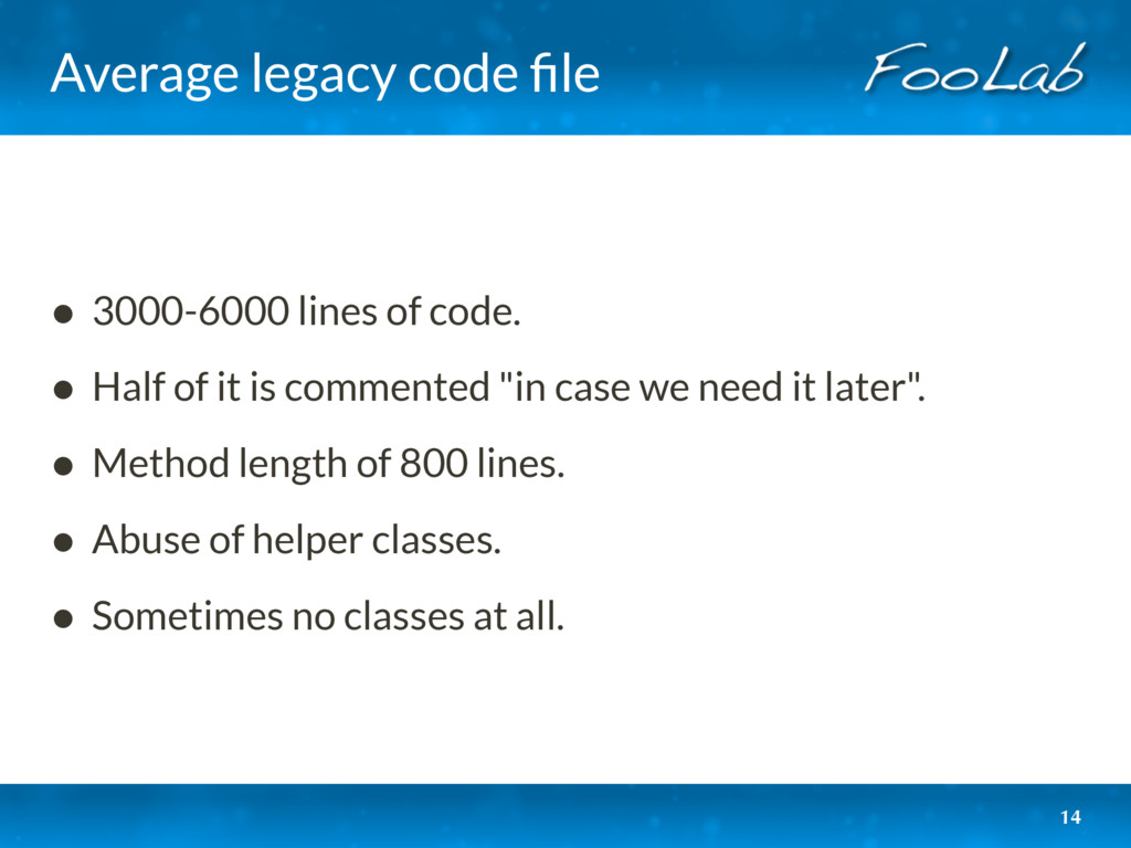 Average legacy code file • 3000-6000 lines of co...