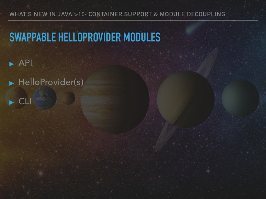 WHAT'S NEW IN JAVA >10: CONTAINER SUPPORT & MOD...