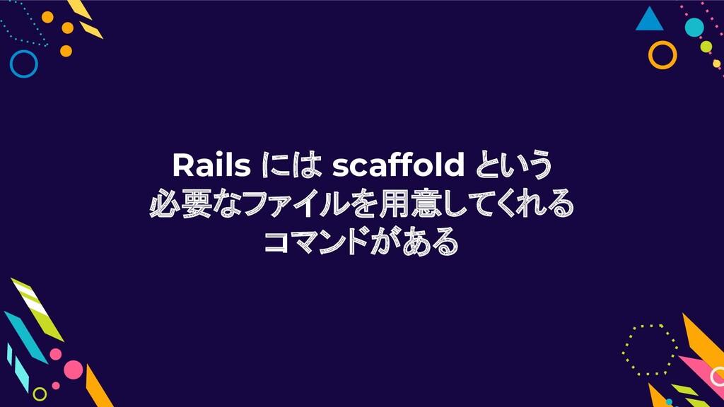Rails には scaffold という 必要なファイルを用意してくれる コマンドがある
