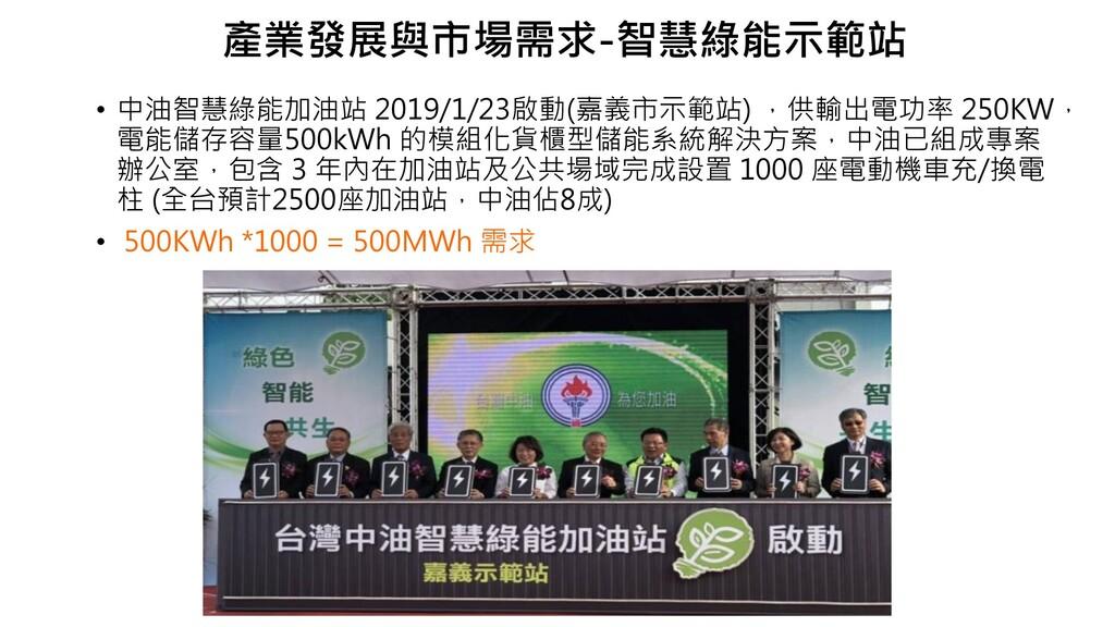 • 中油智慧綠能加油站 2019/1/23啟動(嘉義市示範站) ,供輸出電功率 250KW, ...