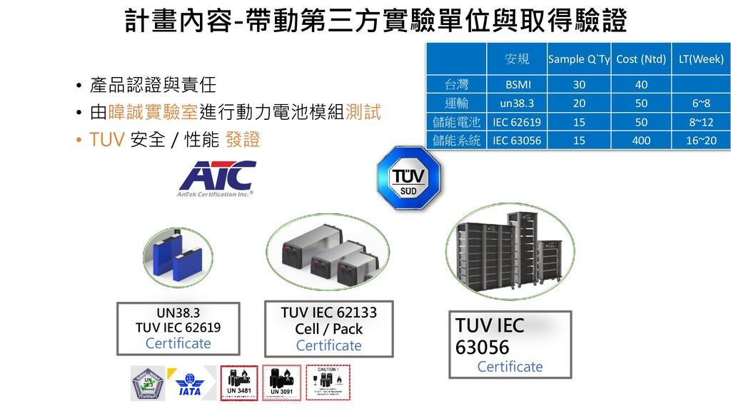 • 產品認證與責任 • 由暐誠實驗室進行動力電池模組測試 • TUV 安全 / 性能 發證 T...