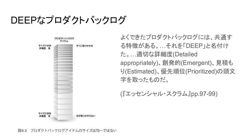 DEEPなプロダクトバックログ よくできたプロダクトバックログには、共通す る特徴がある。…そ...