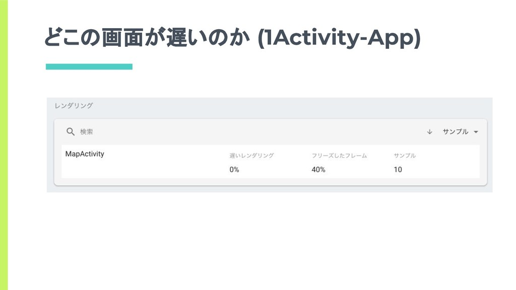 どこの画面が遅いのか (1Activity-App)