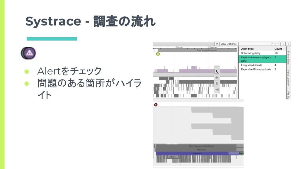 Systrace - 調査の流れ ● Alertをチェック ● 問題のある箇所がハイラ イト