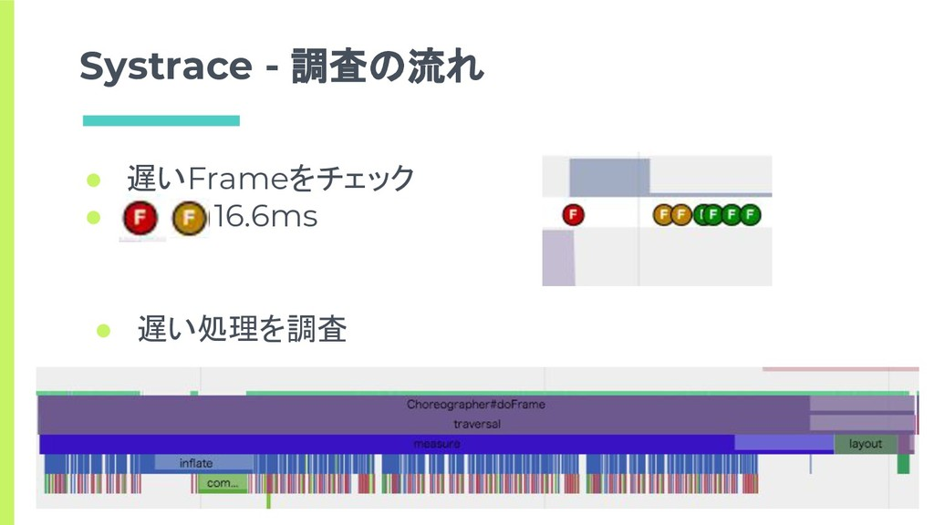 ● 遅いFrameをチェック ●    > 16.6ms Systrace - 調査の流れ ●...