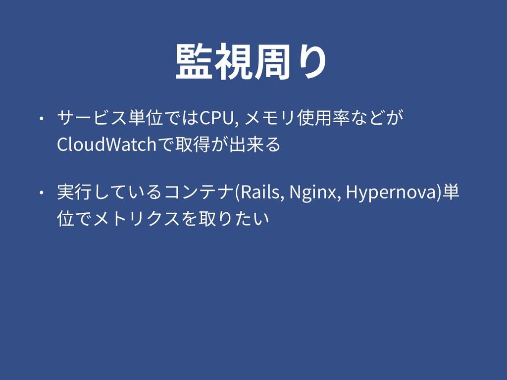 監視周り • サービス単位ではCPU, メモリ使⽤率などが CloudWatchで取得が出来る...