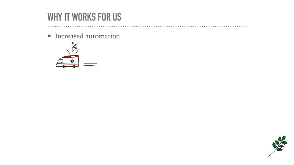 WHY IT WORKS FOR US ➤ Increased automation