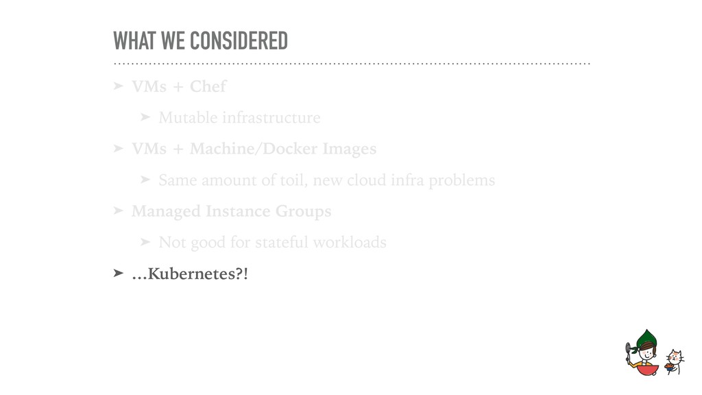 WHAT WE CONSIDERED ➤ VMs + Chef ➤ Mutable infra...