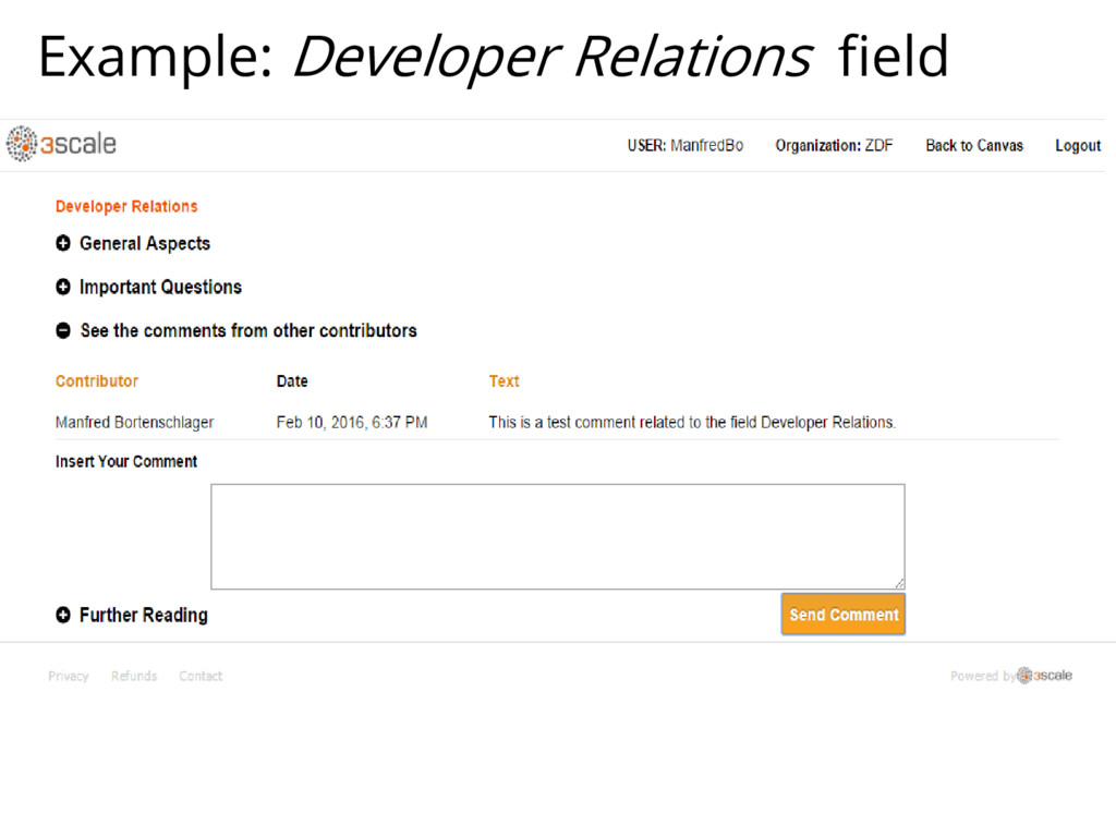 Example: Developer Relations field
