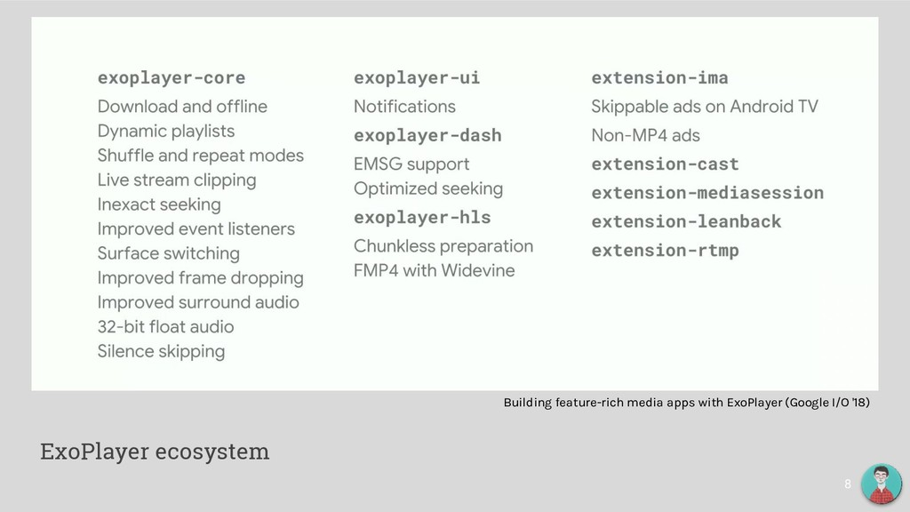 8 ExoPlayer ecosystem Building feature-rich med...