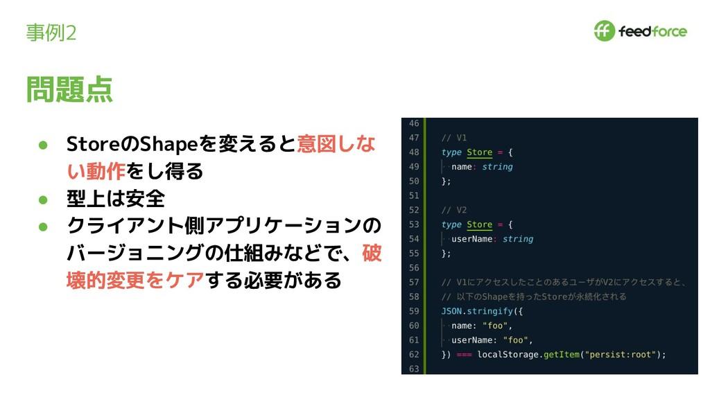 事例2 ● StoreのShapeを変えると意図しな い動作をし得る ● 型上は安全 ● クラ...