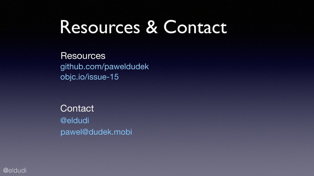 @eldudi Resources & Contact @eldudi github.com/...