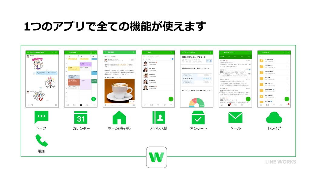 1つのアプリで全ての機能が使えます トーク 電話 カレンダー ホーム(掲示板) アドレス帳 ド...