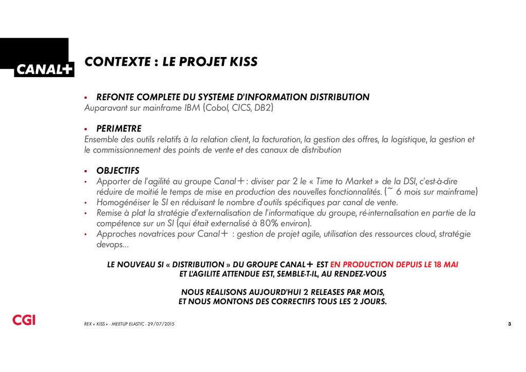 CONTEXTE : LE PROJET KISS REFONTE COMPLÈTE DU S...
