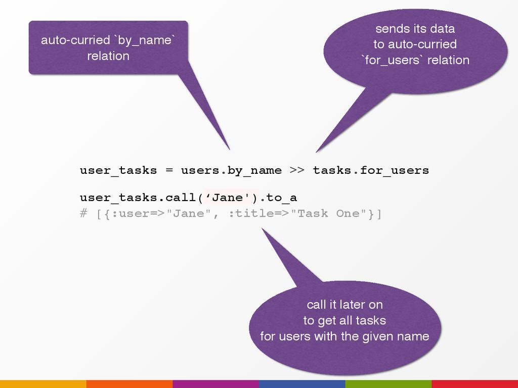 "user_tasks.call('Jane').to_a # [{:user=>""Jane"",..."