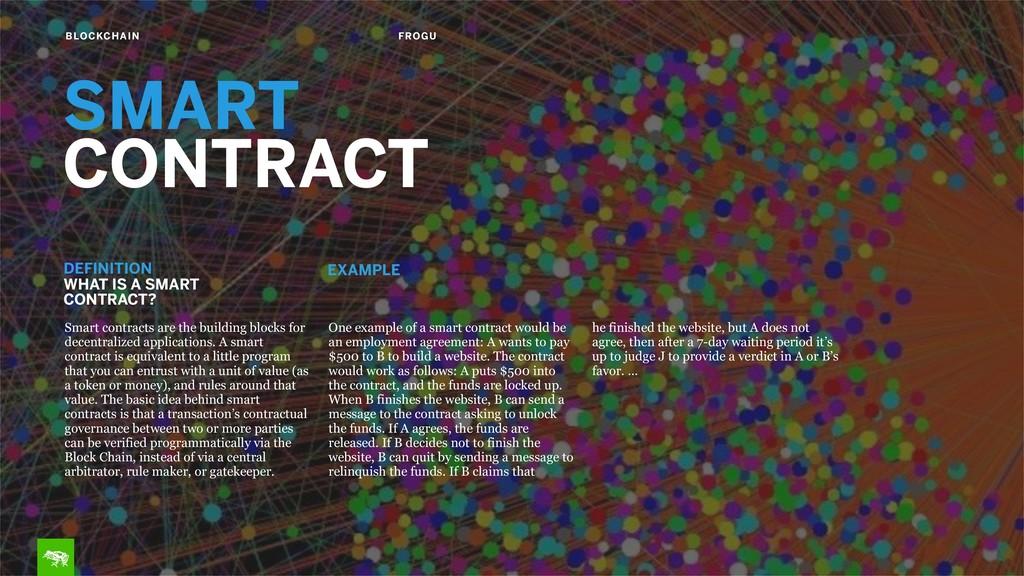 BLOCKCHAIN FROGU SMART CONTRACT Smart contracts...