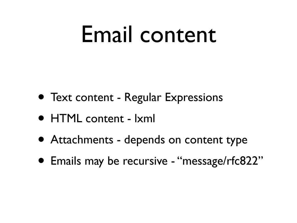 Email content • Text content - Regular Expressi...