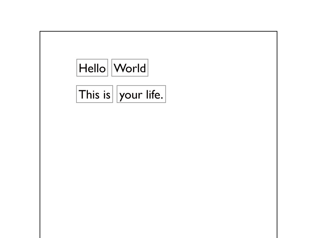 Hello your life. This is World