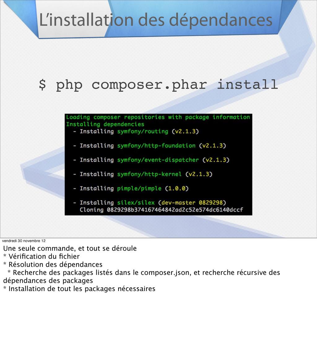 L'installation des dépendances $ php composer.p...