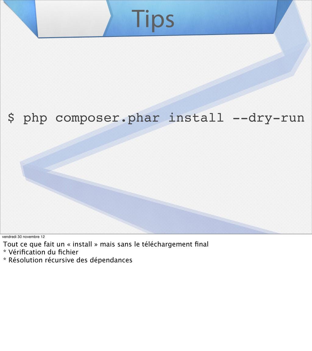 Tips $ php composer.phar install --dry-run vend...