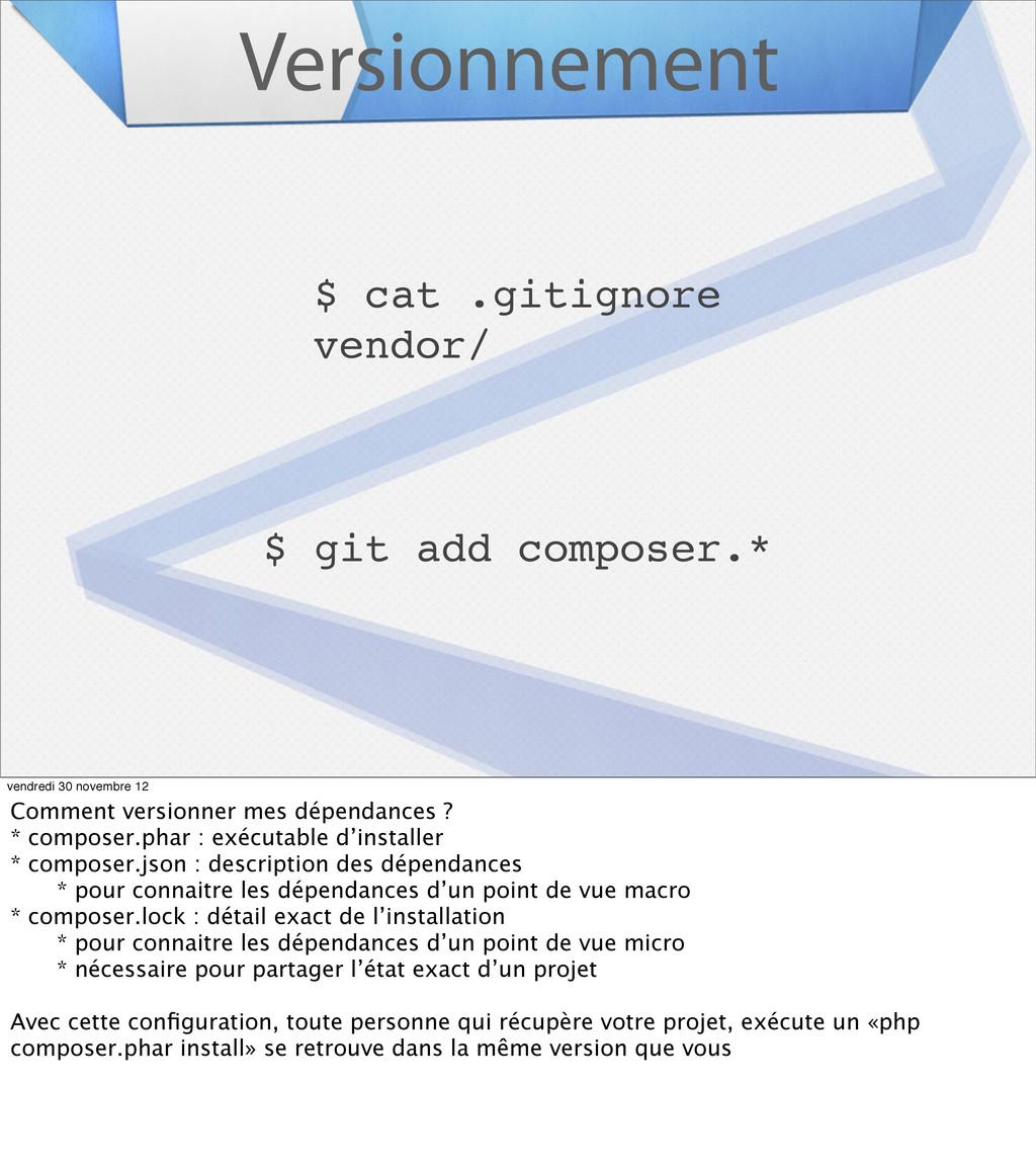 Versionnement $ cat .gitignore vendor/ $ git ad...