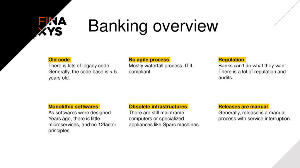 Banking overview Old code There is lots of lega...