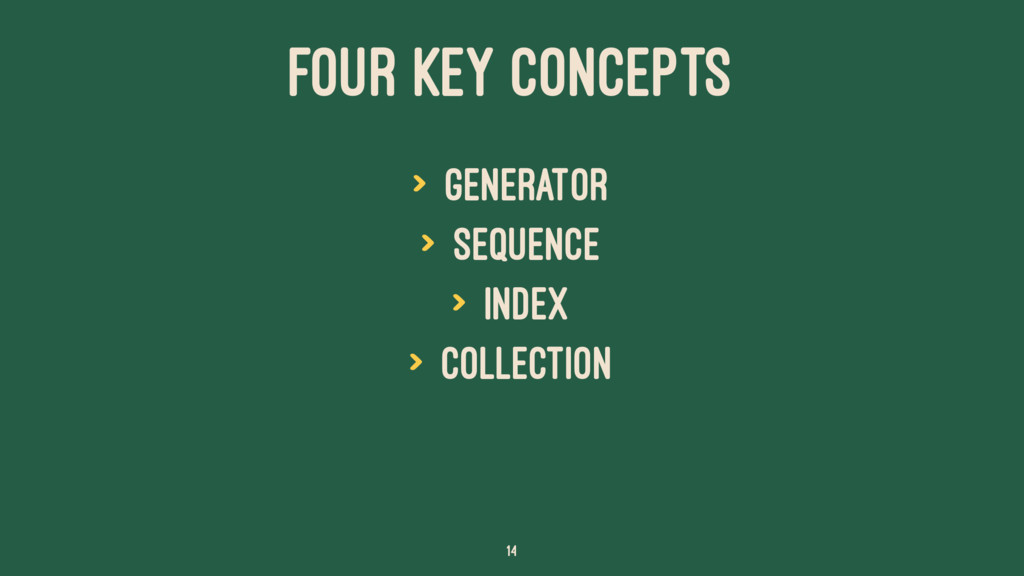 FOUR KEY CONCEPTS > Generator > Sequence > Inde...