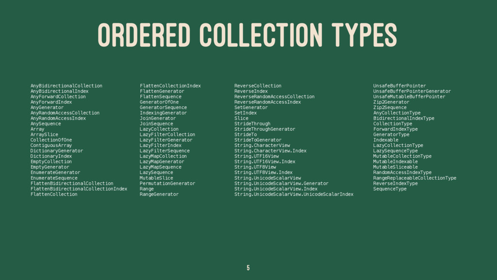 ORDERED COLLECTION TYPES AnyBidirectionalCollec...