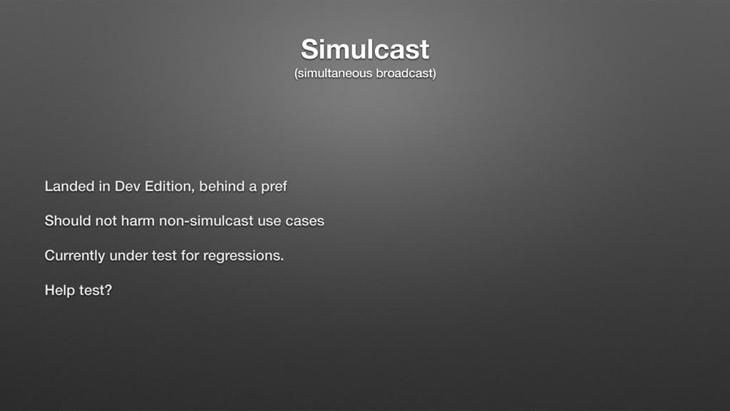 Simulcast (simultaneous broadcast) Landed in De...