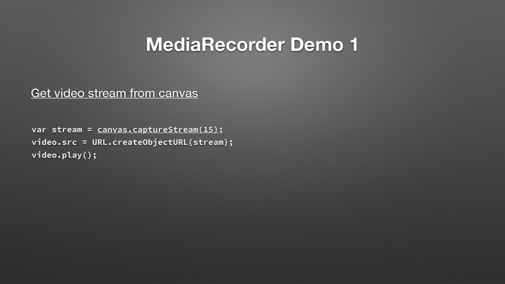 MediaRecorder Demo 1 Get video stream from canv...