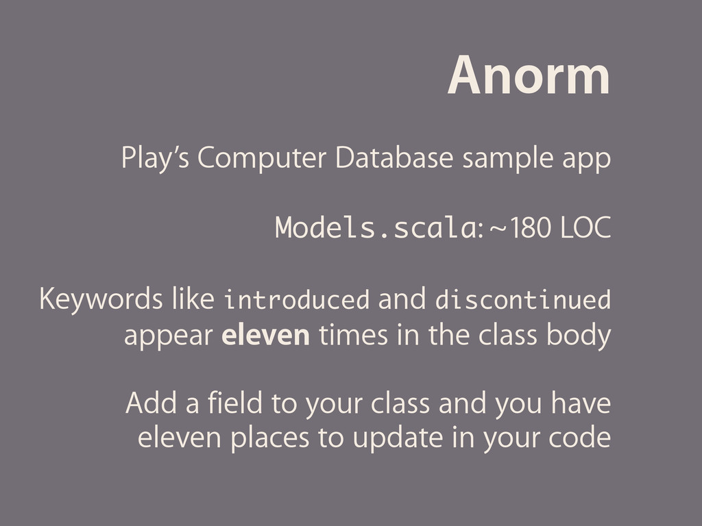 Anorm Play's Computer Database sample app Model...