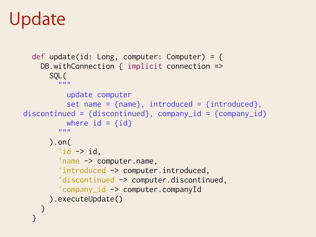 Update def update(id: Long, computer: Computer)...