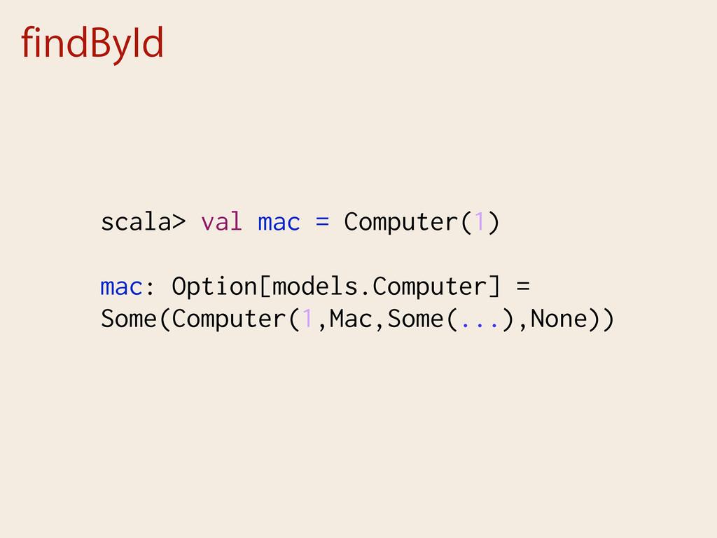 findById scala> val mac = Computer(1) mac: Opti...